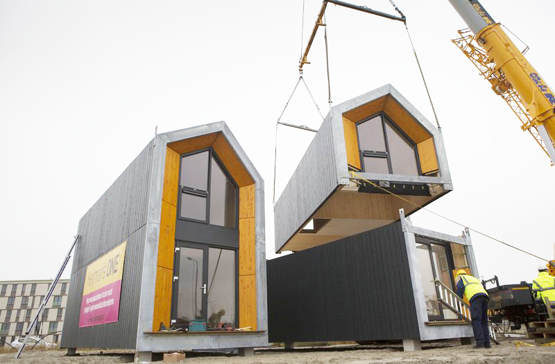 A pre-fabricated modular unit is easily placed by crane